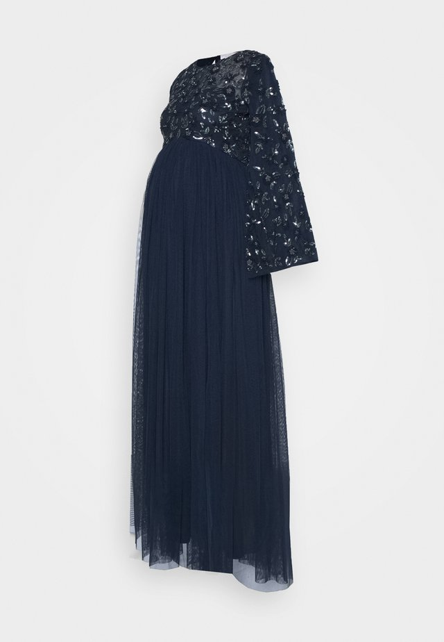 FLORAL EMBELLISHED BELL SLEEVE MAXI - Iltapuku - navy