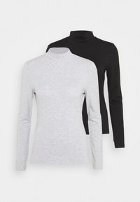 2 PACK - Long sleeved top - black/mottled light grey