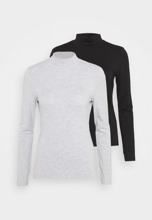 2 PACK - Long sleeved top - black/mottled light grey