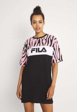 EMER BLOCKED TEE DRESS - Jersey dress - black/peony/bright white