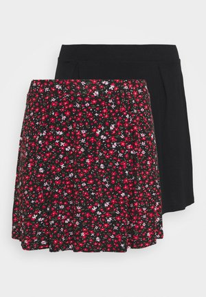 2 PACK - A-line skirt - black/multi coloured