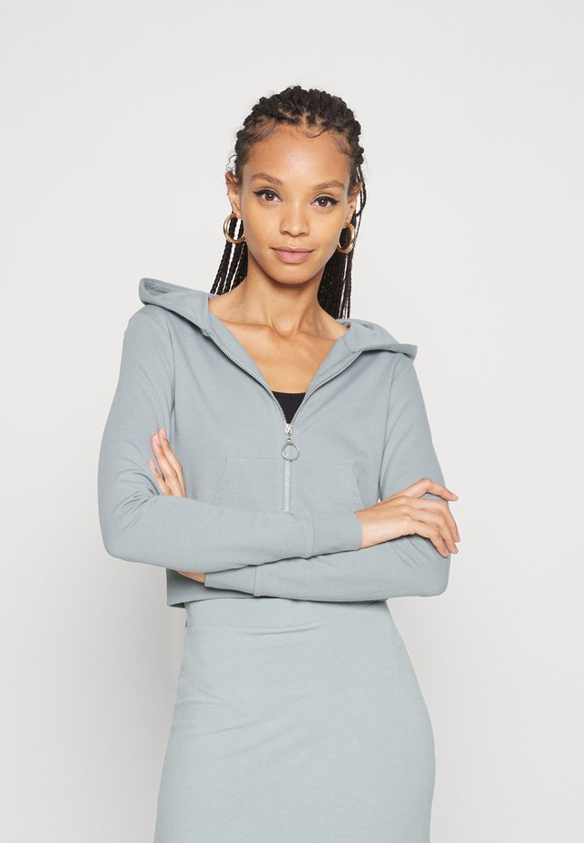 CROPPED ZIP UP HOODIE JACKET - Mikina na zip - light blue