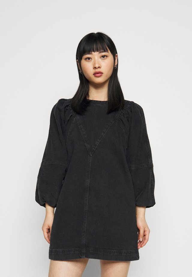 PUFF  DRESS - Farkkumekko - washed black