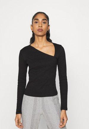 ASYMMETRIC NECKLINE - Long sleeved top - black