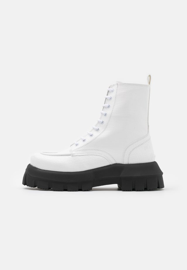 VEGAN VERITY CHUNKY LACE - Lace-up ankle boots - white