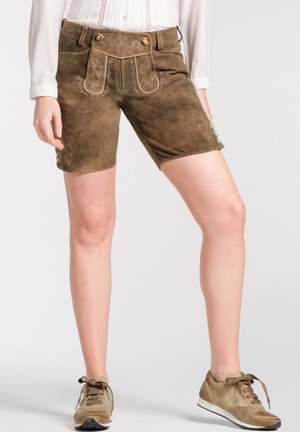 OLIANA - Leather trousers - brown