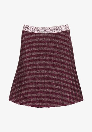 MID LENGTH PLEATED SKIRT IN YARN DYED STRIP - A-lijn rok - red