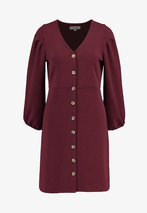 TEXTURE THREAD BUTTON FRONT MINI DRESS - Jersey dress - dusty burgundy
