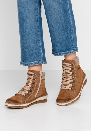Lace-up ankle boots - reh/wood