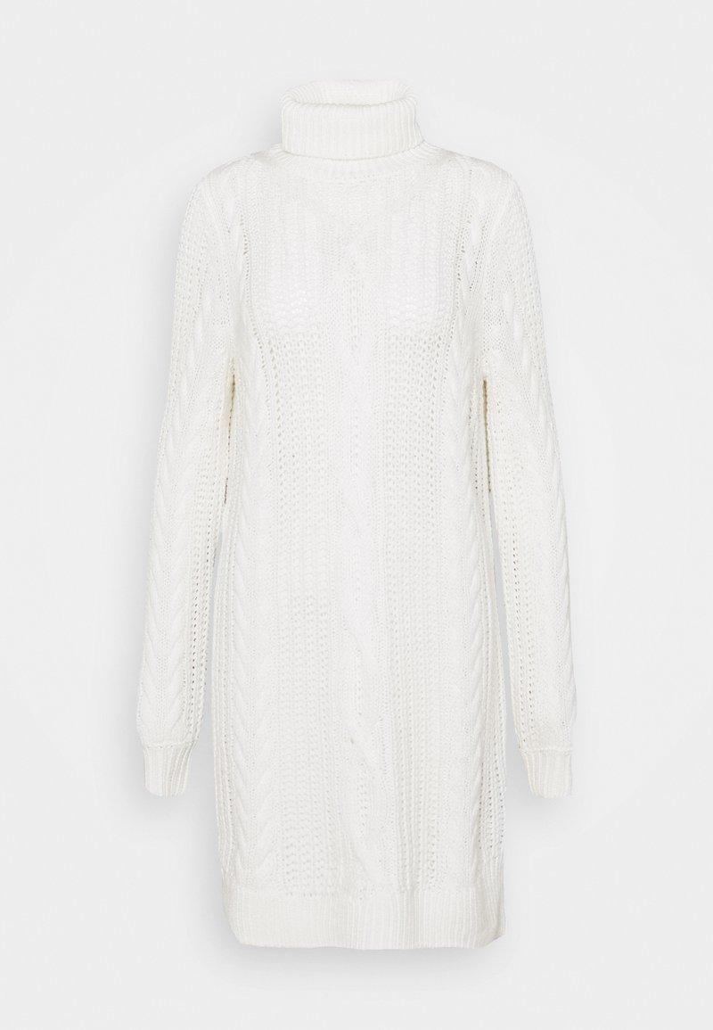 Object - OBJAVA ROLLNECK DRESS - Gebreide jurk - gardenia