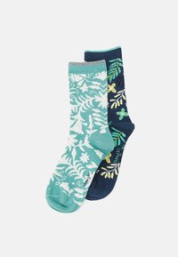Thought - NELLY OTOMI FORAL SOCKS 2 PACK - Sukat - denim blue/field green - 0