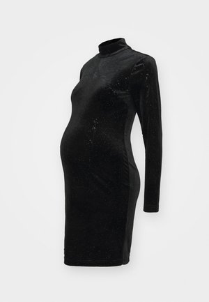 MINI DRESS WITH LONG SLEEVES CUT OUT BACK AND HIGH NECK - Kjole - sparkle black