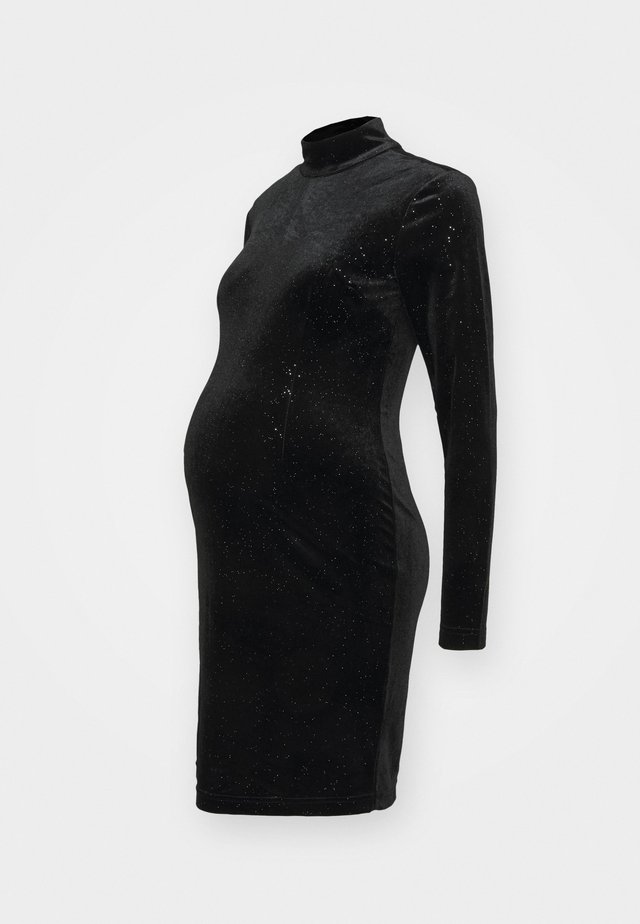 MINI DRESS WITH LONG SLEEVES CUT OUT BACK AND HIGH NECK - Denní šaty - sparkle black