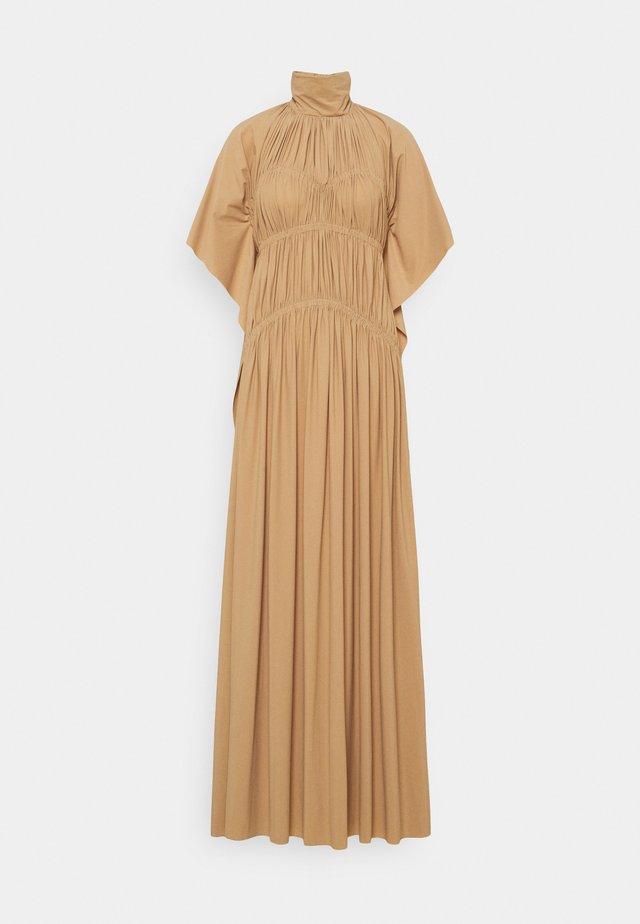 HIGH NECK SMOCKED DRESS - Robe longue - soft beige