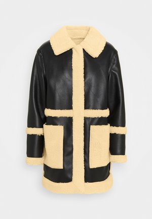 BONDED BORG REVERSIBLE SHACKET - Winter coat - black/cream