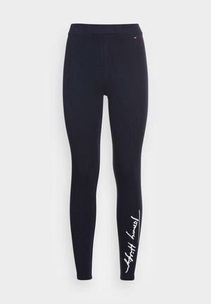 STRETCH SCRIPT  - Leggings - Trousers - blue