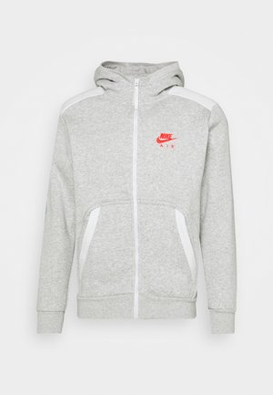 HOODIE - Felpa aperta - grey heather/summit white/infrared