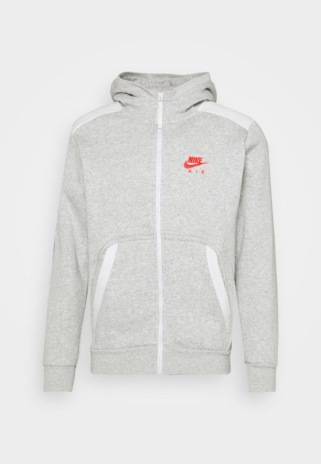 HOODIE - Zip-up hoodie - grey heather/summit white/infrared