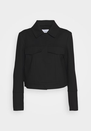 PUNTO DI ROMA JACKET BOXY CROPPED FAKE POCKETS HIDDEN  - Summer jacket - pure black