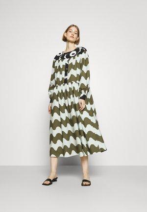 HOHTOSINI DRESS - Shirt dress - dark green/offwhite/black