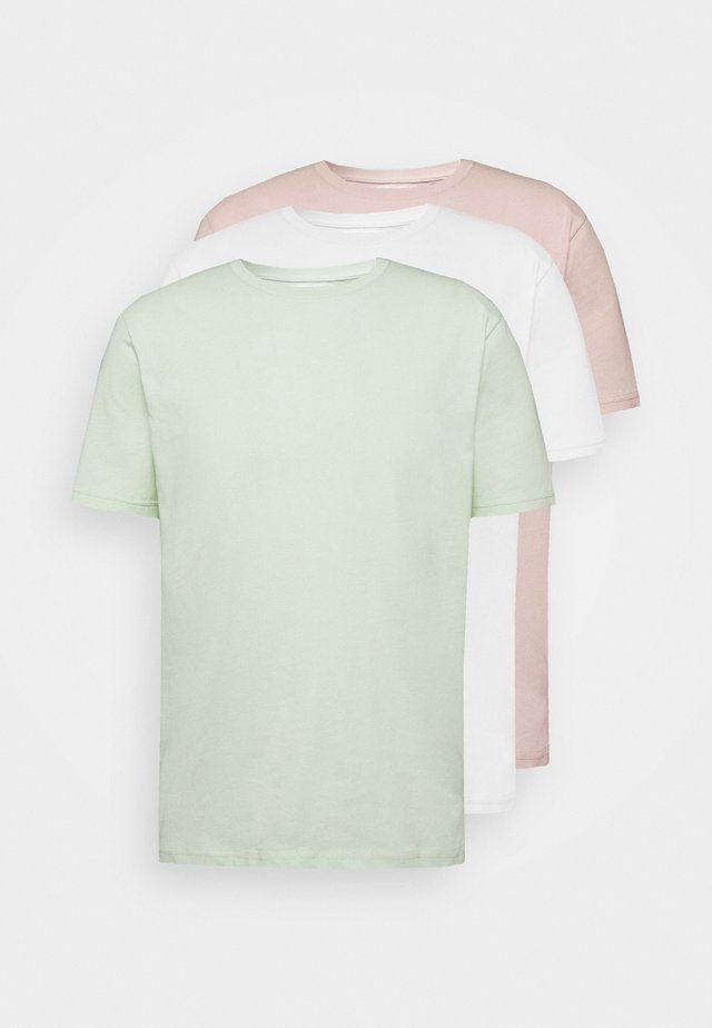 3 Pack - T-shirt basique - white/green/pink