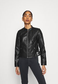 Vero Moda - VMLOVE SHORT COATED JACKET - Imitert skinnjakke - black - 0