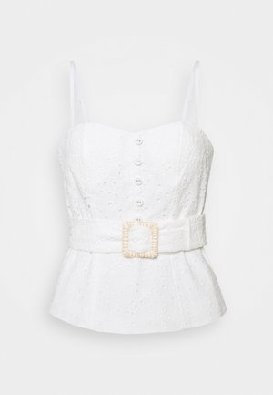 MIMI EMBROIDERED BUSTIER - Top - porcelain