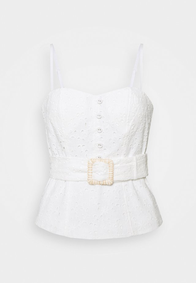 MIMI EMBROIDERED BUSTIER - Toppe - porcelain