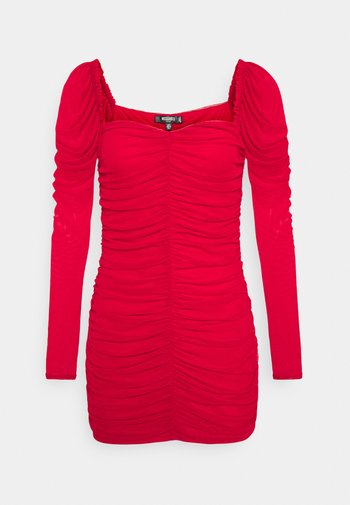RUCHED MINI DRESS - Shift dress - red