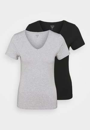 2 PACK - T-shirts - grey/black