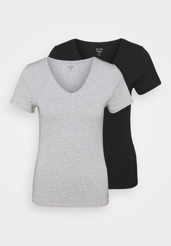 2 PACK - Basic T-shirt - grey/black