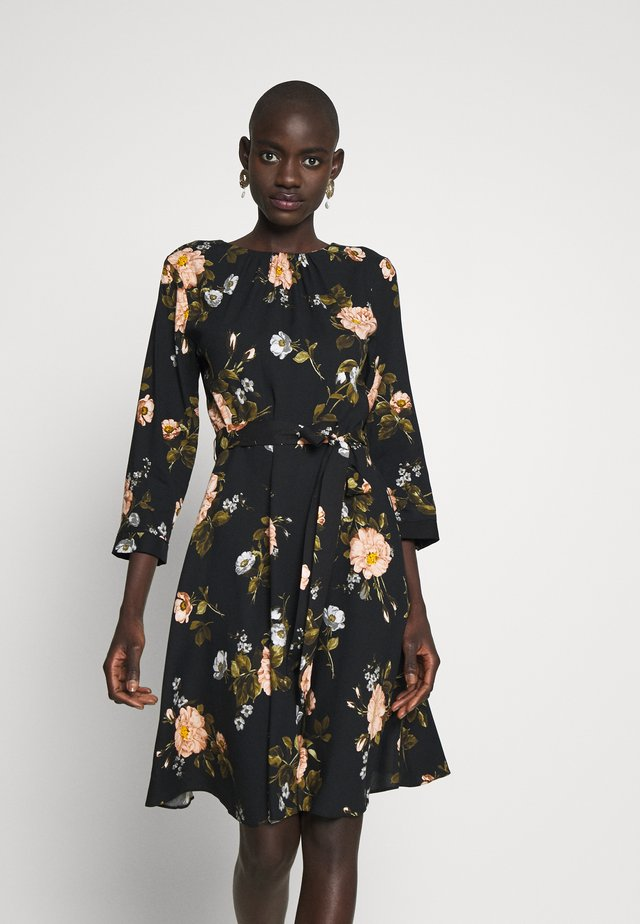 FLORAL PRINT DRESS - Korte jurk - black