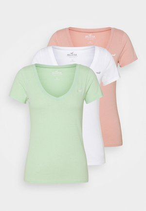 T-shirts med print - white/pastel green/mellow rose