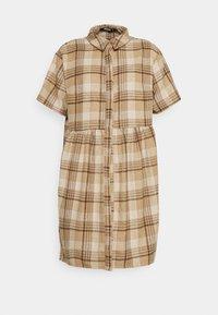 SMOCK DRESS CHECK - Day dress - stone