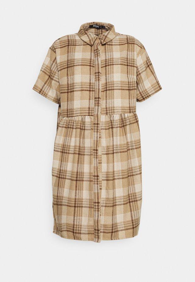 SMOCK DRESS CHECK - Robe d'été - stone