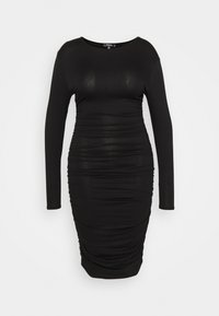 Missguided Plus - RUCHED SIDE BODYCON DRESS - Jersey dress - black - 0