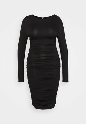 RUCHED SIDE BODYCON DRESS - Jersey dress - black