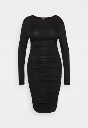 RUCHED SIDE BODYCON DRESS - Sukienka z dżerseju - black