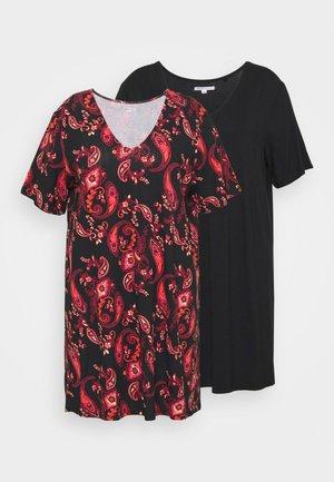V NECK DRESS 2 PACK - Jersey dress - black