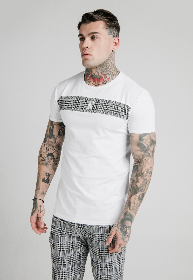 SIKSILK - PANEL SMART TEE - T-shirt print - white