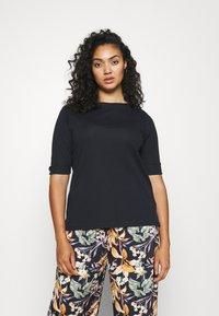 Lauren Ralph Lauren Woman - JUDY ELBOW SLEEVE - Basic T-shirt - navy - 0
