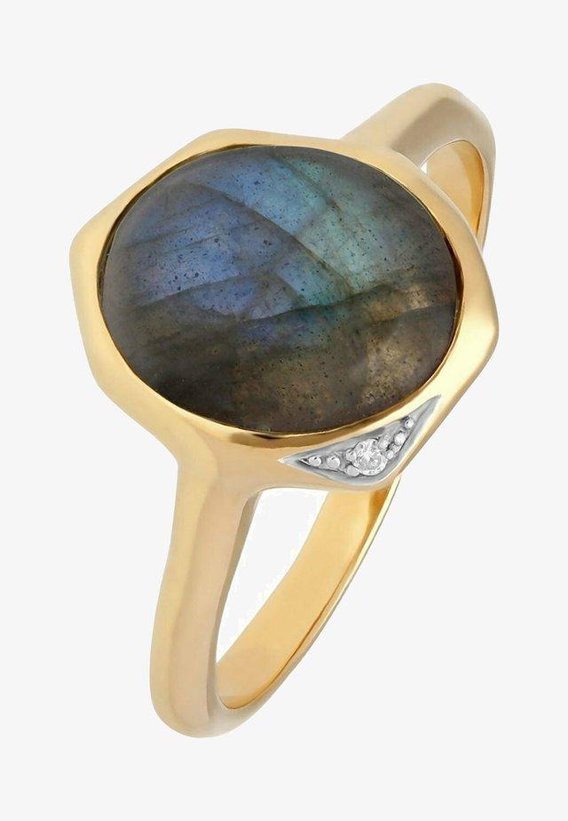 LABRADORITE & DIAMOND - Ring - blue/green