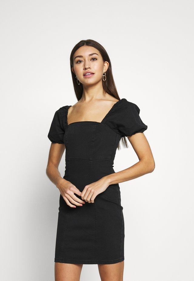 SHAKIRA PUFF SLEEVE DRESS - Denim dress - black
