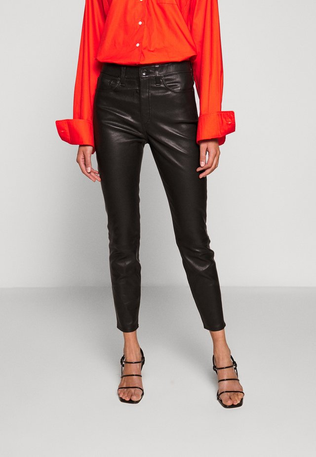 NINA HIGH RISE ANKLE SKINNY - Leather trousers - black