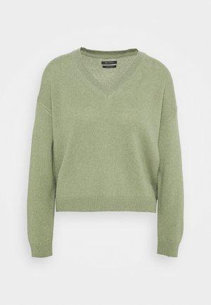 LONGSLEEVE V NECK CROPP - Jumper - dried sage
