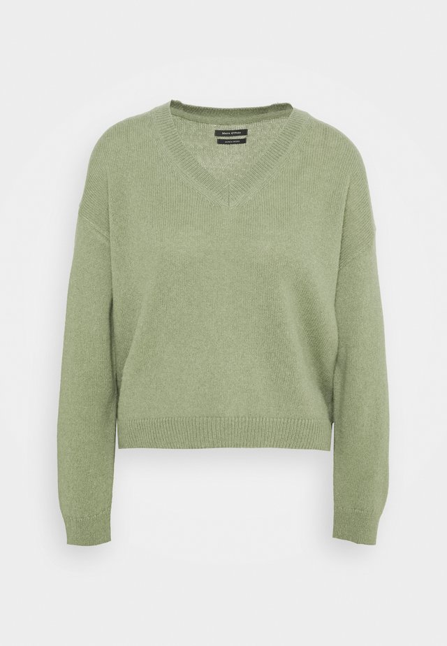 LONGSLEEVE V NECK CROPP - Pullover - dried sage