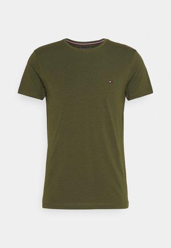 STRETCH SLIM FIT TEE - T-shirt - bas - olivewood