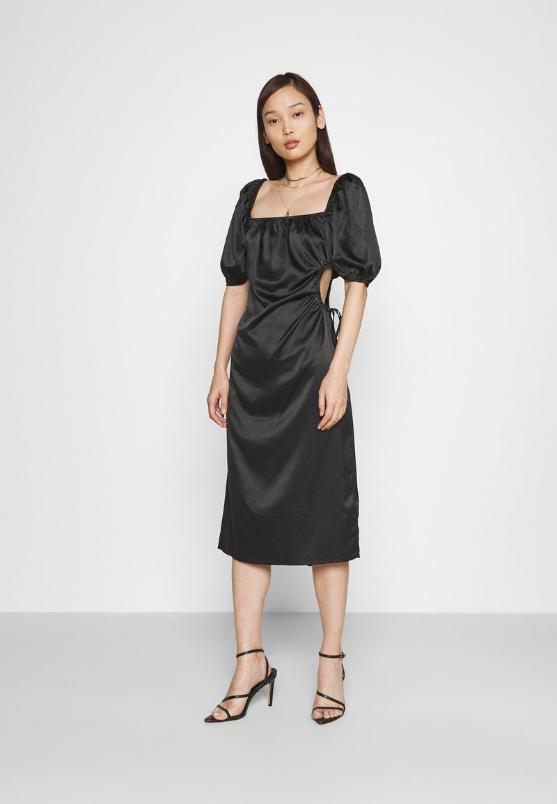 NA-KD - PUFF SLEEVE CUT OUT DRESS - Cocktailkjole - black