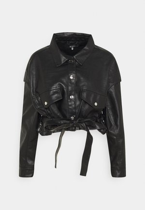 DROP SHOULDER BELTED BIKER - Faux leather jacket - black