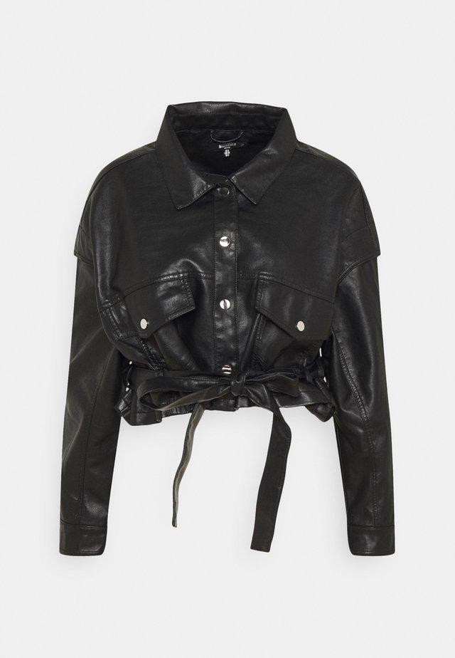 DROP SHOULDER BELTED BIKER - Faux leather jacket - black